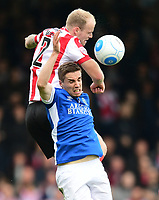 Lincoln City's Bradley Wood vies for possession with Macclesfield Town's Mitch Hancox<br /> <br /> Photographer Chris Vaughan/CameraSport<br /> <br /> Vanarama National League - Lincoln City v Macclesfield Town - Saturday 22nd April 2017 - Sincil Bank - Lincoln<br /> <br /> World Copyright &copy; 2017 CameraSport. All rights reserved. 43 Linden Ave. Countesthorpe. Leicester. England. LE8 5PG - Tel: +44 (0) 116 277 4147 - admin@camerasport.com - www.camerasport.com