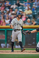 Forrestt Allday (13) of the El Paso Chihuahuas bats against the Salt Lake Bees at Smith's Ballpark on August 13, 2018 in Salt Lake City, Utah. Salt Lake defeated El Paso 4-3. (Stephen Smith/Four Seam Images)