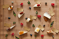 A dish of Pecorino cheese pairings, created by Dario Ferreri of La Bandita, Val D' Orcia, Tuscany, Italy