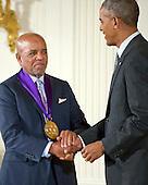 United States President Barack Obama presents the 2015 National Medal of Arts to Berry Gordy, Record Producer & Songwriter of Los Angeles, California during a ceremony in the East Room of the White House in Washington, DC on Thursday, September 22, 2016.<br /> Credit: Ron Sachs / CNP