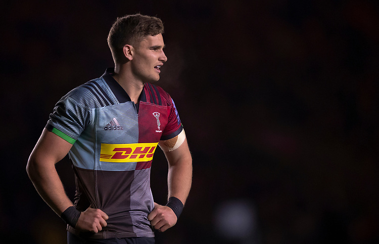 Harlequins' James Lang<br /> <br /> Photographer Bob Bradford/CameraSport<br /> <br /> Gallagher Premiership Round 9 - Harlequins v Exeter Chiefs - Friday 30th November 2018 - Twickenham Stoop - London<br /> <br /> World Copyright © 2018 CameraSport. All rights reserved. 43 Linden Ave. Countesthorpe. Leicester. England. LE8 5PG - Tel: +44 (0) 116 277 4147 - admin@camerasport.com - www.camerasport.com