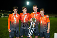 Pictured: Mason Jones-Thomas (left) and Cameron Evans (right) of Swansea City u19's celebrate at full time during the FAW youth cup final between Swansea City and The New Saints at Park Avenue in Aberystwyth Town, Wales, UK.<br /> Wednesday 17 April 2019