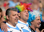 ENG - Leicester, England, October 11: Fans sing the national anthem before the Pool C rugby match between Argentina (blue/white) and Namibia (blue) on October 11, 2015 at Leicester City Stadium in Leicester, England. Final score 64-19 (HT 36-7). (Photo by Dirk Markgraf / www.265-images.com) *** Local caption ***