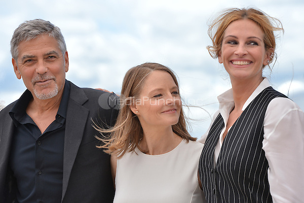 George Clooney, Julia Roberts and Jodie Forster at the Photocall &acute;Money Monster` - 69th Cannes Film Festival on May 12, 2016 in Cannes, France.<br /> CAP/LAF<br /> &copy;Lafitte/Capital Pictures /MediaPunch ***NORTH AMERICAN AND SOUTH AMERICAN SALES ONLY***