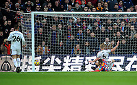 Burnley's Ben Mee goal line clearance from Crystal Palace's James McArthur<br /> <br /> Photographer Ashley Crowden/CameraSport<br /> <br /> The Premier League - Crystal Palace v Burnley - Saturday 13th January 2018 - Selhurst Park - London<br /> <br /> World Copyright &copy; 2018 CameraSport. All rights reserved. 43 Linden Ave. Countesthorpe. Leicester. England. LE8 5PG - Tel: +44 (0) 116 277 4147 - admin@camerasport.com - www.camerasport.com