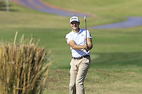 Julien Quesne (FRA) plays his 2nd shot on the 9th hole during Thursday's Round 1 of the 2016 Portugal Masters held at the Oceanico Victoria Golf Course, Vilamoura, Algarve, Portugal. 19th October 2016.<br /> Picture: Eoin Clarke | Golffile<br /> <br /> <br /> All photos usage must carry mandatory copyright credit (&copy; Golffile | Eoin Clarke)