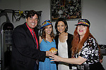 Dale Badway was given a pie to celebrated his birthday from Jane Elissa who has her art designs in a gallery at Dr. Cohen's office - 333 W. 52nd Street, New York City, New York for view - Taking photos are Dale Badway (Tony award winner as producer for Pippin), Amy London, Another World's Lauri Landry and Jane Elissa on June 7, 2014. Jane donates to Leukemia/Lymphoma Society. (Photo by Sue Coflin/Max Photos)