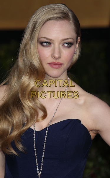 Amanda Seyfried .Arrivals at the 19th Annual Screen Actors Guild Awards at the Shrine Auditorium in Los Angeles, California, USA..27th January 2013.SAG SAGs headshot portrait navy blue necklace medallion silver strapless .CAP/ADM/RE.©Russ Elliot/AdMedia/Capital Pictures.