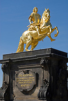 Deutschland, Freistaat Sachsen, Dresden: Der Goldene Reiter, Denkmal August des Starken, (Friedrich August I.), Kurfuerst von Sachsen, spaeter auch Koenig von Polen | Germany, the Free State of Saxony, Dresden: The golden rider of monument August of the strong (Frederick Augustus I.), Elector of Saxony, later also King of Poland