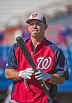 9 March 2014: Washington Nationals catcher Wilson Ramos awaits his turn in the batting cage prior to a Spring Training game against the St. Louis Cardinals at Space Coast Stadium in Viera, Florida. The Nationals defeated the Cardinals 11-1 in Grapefruit League play. Mandatory Credit: Ed Wolfstein Photo *** RAW (NEF) Image File Available ***
