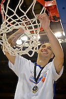 Lindsay Tait celebrates winning the national basketball league final Hawks v Saints at TSB Bank Arena, Wellington, New Zealand on Saturday 5 July 2014. <br /> Photo by Masanori Udagawa. <br /> www.photowellington.photoshelter.com.