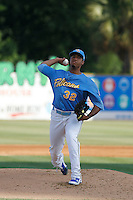 Myrtle Beach Pelicans pitcher Duane Underwood Jr. pitching during a game against the Potomac Nationals at Ticketreturn.com Field at Pelicans Ballpark on May 22, 2015 in Myrtle Beach, South Carolina.  Myrtle Beach defeated Potomac 8-4. (Robert Gurganus/Four Seam Images)