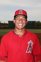 Jahmai Jones (22) of the AZL Angels poses for a photo before a game against the AZL Rangers at the Texas Rangers Spring Training Complex on July 1, 2015 in Surprise, Arizona. Rangers defeated Angels, 3-1. (Larry Goren/Four Seam Images)