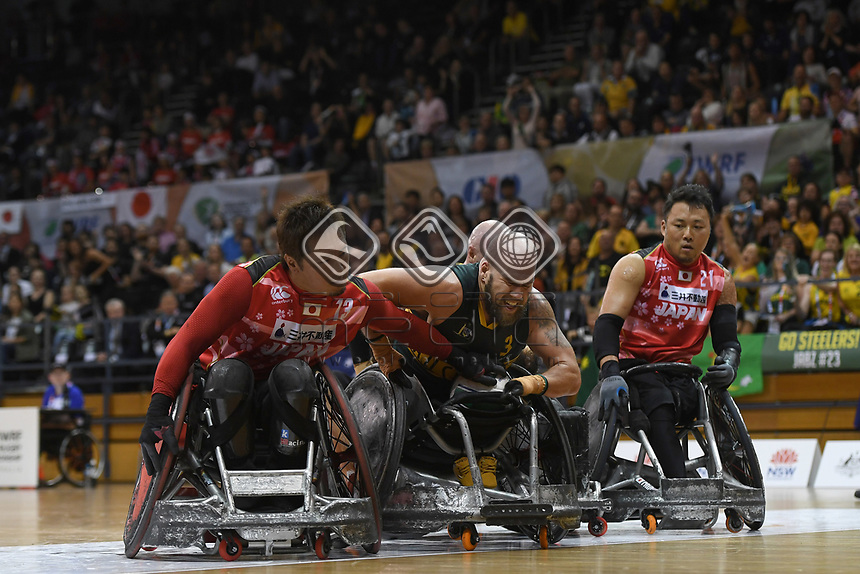Ryley Batt (Best WC 3.5) in grand final against Japan / Aus 61 - Jpn 62<br /> Australian Wheelchair Rugby Team<br /> 2018 IWRF WheelChair Rugby <br /> World Championship / Finals<br /> Sydney  NSW Australia<br /> Friday 10th August 2018<br /> © Sport the library / Jeff Crow / APC