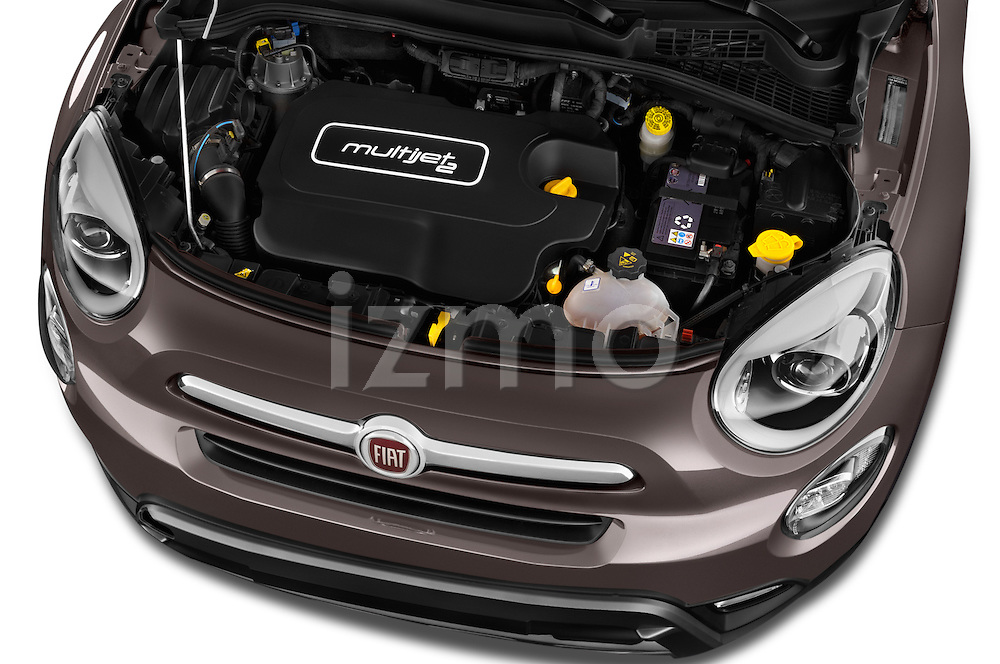 Car Stock 2017 Fiat 500X Trekking 5 Door SUV Engine  high angle detail view
