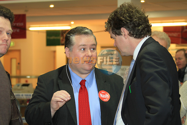 Mayor of Drogheda Paul Bell (LAB) speaking with Mark Deary (Green).at the Louth election count in the DKIT in Dundalk Co Louth..Picture: Fran Caffrey / www.newsfile.ie.