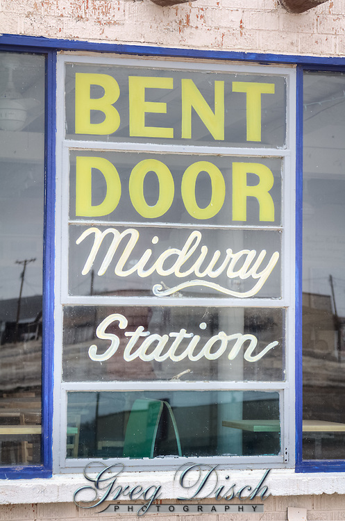 The Bent Door Midway Station in Adrian Texas, the midway point on Route 66.  In the early 1960 this was known as Tommy's Cafe.  The bent door and some windows were salvaged from an airport control tower.