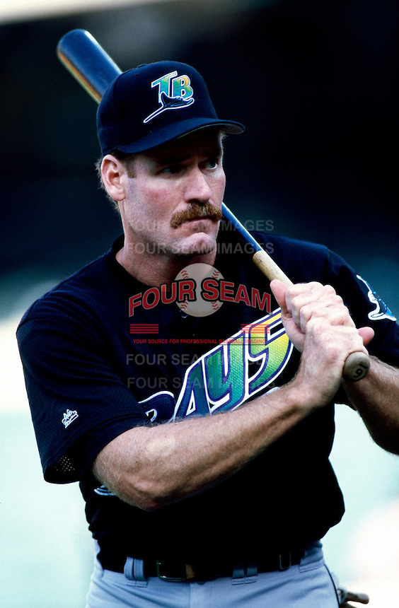 Wade Boggs of the Tampa Bay Devil Rays plays in a baseball game at Edison International Field during the 1998 season in Anaheim, California. (Larry Goren/Four Seam Images)