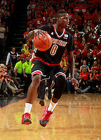 Louisville guard Terry Rozier (0) during an NCAA basketball game Saturday Feb. 7, 2015, in Charlottesville, Va. Virginia defeated Louisville  52-47. (Photo/Andrew Shurtleff)