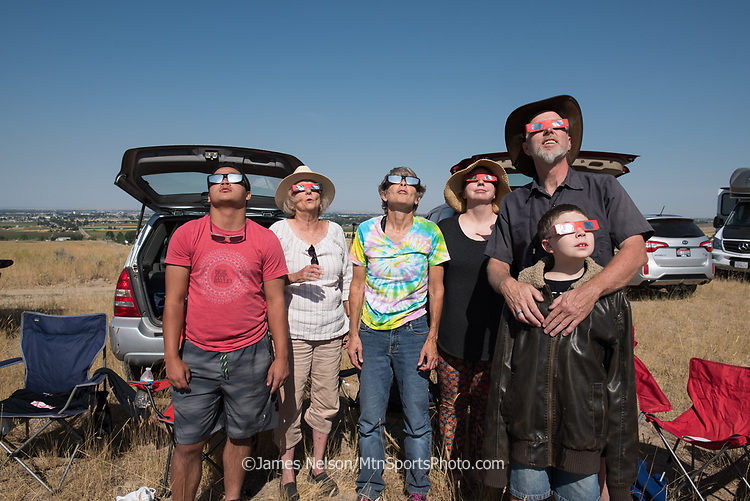 A family group gathers in the foothills east of Idaho Falls, Idaho, to watch the solar eclipse on August 21, 2017. From left to right: Nate Nelson, Christine Nelson Probasco, Barbara Ochs Nelson, Sarah Probasco, Eric Probasco, and Bryce Probasco (age 10).