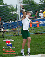 Timberland Senior Josh McDonald launches the shot on his way to victory in the shot put at the Class 4 Sectional 2 meet. McDonald's three of four throws were fair and all three measured more than 59 feet, while his best of 59-8 was a  personal best and gave him the win by four inches over Khalen Saunders of Parkway Central.