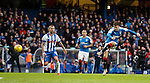 Andy Halliday grazes the post with a shot
