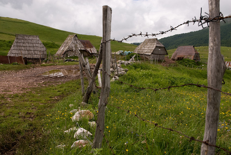In the summer, ranchers bring the livestock to the higher mountain pastures and spend the season in a village such as this one, in Gradina.