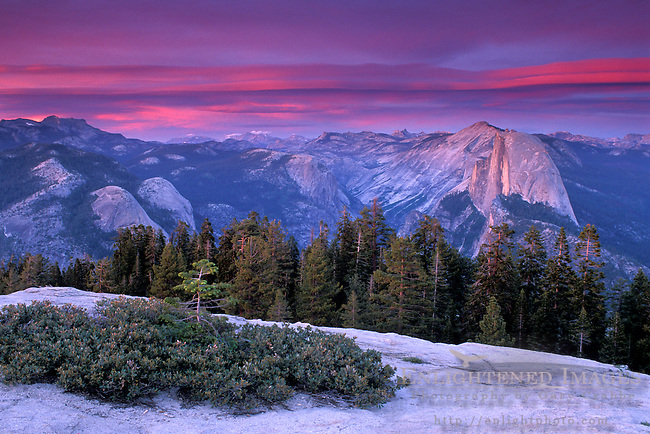 Alpenglow on clouds at sunset above Half Dome and Tenaya Canyon, Yosemite National Park, CALIFORNIA