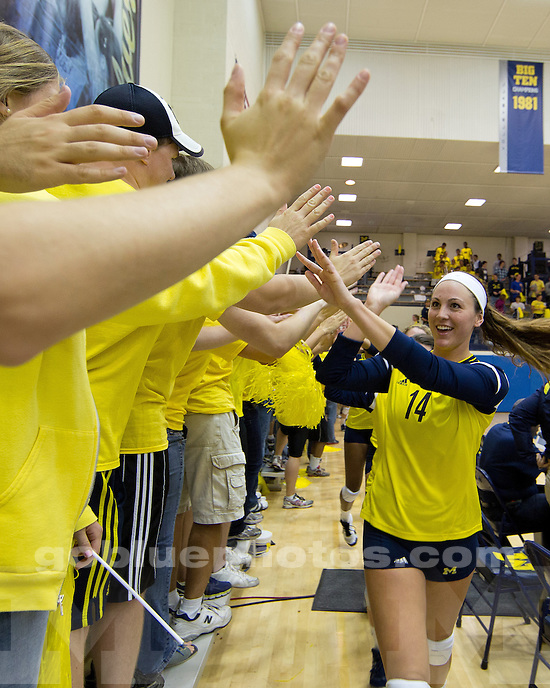 The University of Michigan volleyball team beat Indiana, 3-1, at Cliff Keen Arena in Ann Arbor, Mich., on September 21, 2012.