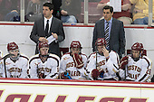 Brendan Silk (BC - 9), Mike Ayers (BC - Assistant Coach), Adam Gilmour (BC - 14), Johnny Gaudreau (BC - 13), Kevin Hayes (BC - 12), Matt Malloy (BC - Student Manager), Austin Cangelosi (BC - 26) - The Boston College Eagles defeated the visiting St. Francis Xavier University X-Men 8-2 in an exhibition game on Sunday, October 6, 2013, at Kelley Rink in Conte Forum in Chestnut Hill, Massachusetts.