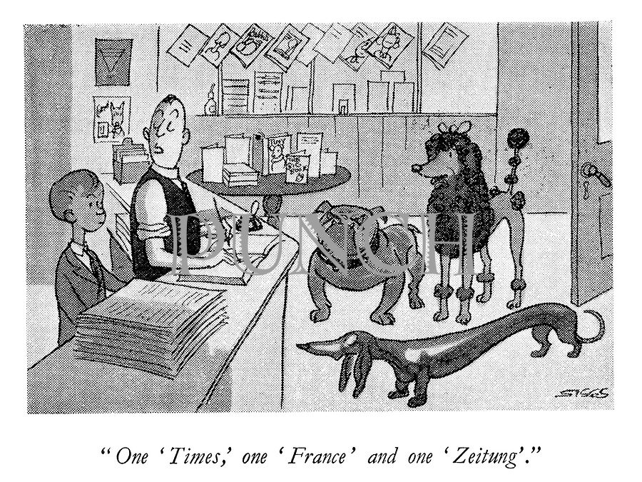 """One 'Times,' one 'France' and one 'Zeitung'."""