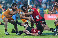 Jaguares' Santiago Medrano and Jaguares' Agustin Creevy in action during the 2019 Super Rugby final between the Crusaders and Jaguares at Orangetheory Stadium in Christchurch, New Zealand on Saturday, 6 July 2019. Photo: Dave Lintott / lintottphoto.co.nz