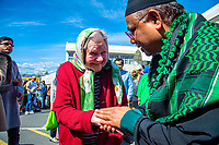 Dame Kate Harcourt with Sultan Eusoff (Chief Executive Officer at Federation of Islamic Associations of New Zealand). NZ marks one week since Christchurch terror attacks. Wellington Islamic Centre in Wellington, New Zealand on Friday, 22 March 2019. Photo: Dave Lintott / lintottphoto.co.nz