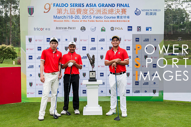 Group 28 poses for a portrait during the 9th Faldo Series Asia Grand Final 2014 golf tournament on March 18, 2015 at Mission Hills Golf Club in Shenzhen, China. Photo by Xaume Olleros / Power Sport Images
