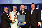 Liz Rickard, Clara Musical Society, County Offaly who wereOverall Winners in the Sullivan Section for the show 'Cats' receiving the trophy from on left, Colm Moules, President, AIMS and Seamus Power, Vice-President at the Association of Irish Musical Societies annual awards in the INEC, KIllarney at the weekend. Also in photo is AIMS adjudicator Greg Currid.<br /> Photo: Don MacMonagle -macmonagle.com<br /> <br /> <br /> <br /> repro free photo from AIMS<br /> Further Information:<br /> Kate Furlong AIMS PRO kate.furlong84@gmail.com
