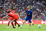 Chelsea Defender Marcos Alonso (R) fights for the ball with Bayern Munich Forward Milos Pantovic (L) during the International Champions Cup match between Chelsea FC and FC Bayern Munich at National Stadium on July 25, 2017 in Singapore. Photo by Marcio Rodrigo Machado / Power Sport Images