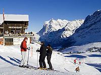 CHE, Schweiz, Kanton Bern, Berner Oberland, Grindelwald: Skiregion Kleine Scheidegg mit Eiger (3.970 m) | CHE, Switzerland, Canton Bern, Bernese Oberland, Grindelwald: Kleine Scheidegg - ski area with Eiger mountain