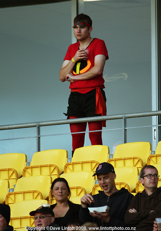 A costumed fan watches the A-League football match between the Wellington Phoenix and Perth Glory at Westpac Stadium, Wellington, New Zealand on Saturday, 13 December 2008. Photo: Dave Lintott / lintottphoto.co.nz
