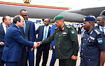 Egyptian President Abdel Fattah al-Sisi attends the welcome ceremony after his arrival at Kigali International Airport on August 15, 2017. The Egyptian President is paying a two day visit to Rwanda. Photo by Egyptian President Office