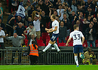 Tottenham's Harry Kane celebrating first goal during the EPL - Premier League match between Tottenham Hotspur and Newcastle United at Wembley Stadium, London, England on 9 May 2018. Photo by Andrew Aleksiejczuk / PRiME Media Images.