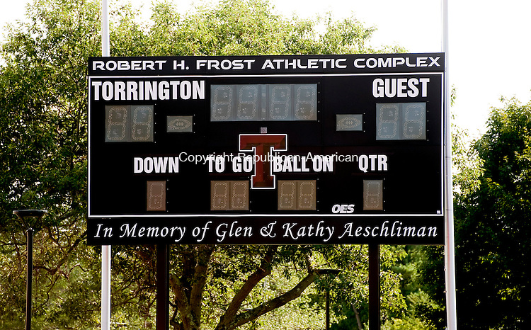 TORRINGTON, CT--- -081715JS04- The scoreboard at the Robert H. Frost Athletic Complex  at Torrington High School. <br /> Jim Shannon Republican-American