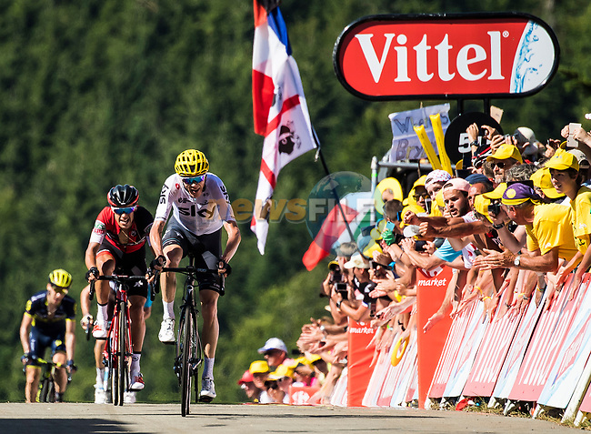 Chris Froome (GBR) Team Sky and Richie Porte (AUS) cross the finish line at the end of Stage 5 of the 104th edition of the Tour de France 2017, running 160.5km from Vittel to La Planche des Belles Filles, France. 5th July 2017.<br /> Picture: ASO/Alex Broadway | Cyclefile<br /> <br /> <br /> All photos usage must carry mandatory copyright credit (&copy; Cyclefile | ASO/Alex Broadway)