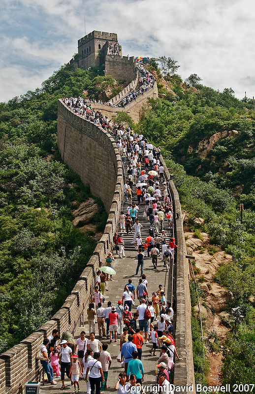 "The Great Wall of China, near Beijing, where it is crowded and much more ""touristy.""  It should be named the ""Great Wall of People."""