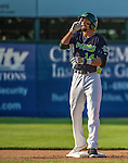 29 June 2014:  Vermont Lake Monsters outfielder Dayton Alexander stands on second with a double against the Lowell Spinners at Centennial Field in Burlington, Vermont. The Lake Monsters fell to the Spinners 7-5 in NY Penn League action. Mandatory Credit: Ed Wolfstein Photo *** RAW Image File Available ****