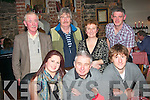 HAPPY BIRTHDAY: Bernard Nolan, Cahermoneen, Tralee (seated centre) who celebrated his 60th birthday in Finnegans restaurant, Denny St, Tralee, last Saturday night, pictured here (seated) with his daughter Sarah and son John. Back l-r: Joe Horgan, Maurice Hannon, Geraldine Nolan and Gavin Gallagher.
