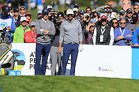 Jordan Spieth and Dustin Johnson (USA) on the 6th tee at Pebble Beach Golf Links during Saturday's Round 3 of the 2017 AT&amp;T Pebble Beach Pro-Am held over 3 courses, Pebble Beach, Spyglass Hill and Monterey Penninsula Country Club, Monterey, California, USA. 11th February 2017.<br /> Picture: Eoin Clarke | Golffile<br /> <br /> <br /> All photos usage must carry mandatory copyright credit (&copy; Golffile | Eoin Clarke)