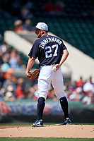 Detroit Tigers starting pitcher Jordan Zimmermann (27) looks in for the sign during a Grapefruit League Spring Training game against the Atlanta Braves on March 2, 2019 at Publix Field at Joker Marchant Stadium in Lakeland, Florida.  Tigers defeated the Braves 7-4.  (Mike Janes/Four Seam Images)