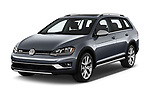 2018 Volkswagen Golf Alltrack TSI SEL 4Motion DSG 5 Door Wagon angular front stock photos of front three quarter view