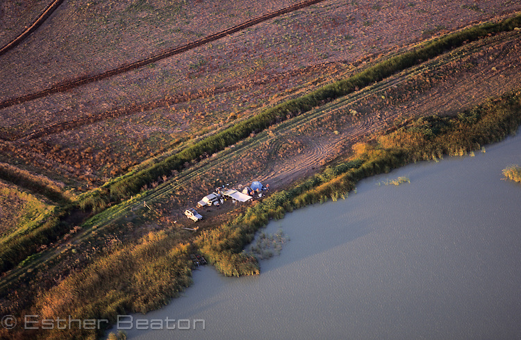 Duck hunters' camp, Barren Box Swamp, Riverina area of New South Wales. Aerial.