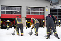29/12/17<br /> <br /> Firefighters clear snow from outside their fire station in Buxton, Derbyshire.<br /> <br /> All Rights Reserved F Stop Press Ltd. +44 (0)1335 344240 +44 (0)7765 242650  www.fstoppress.com